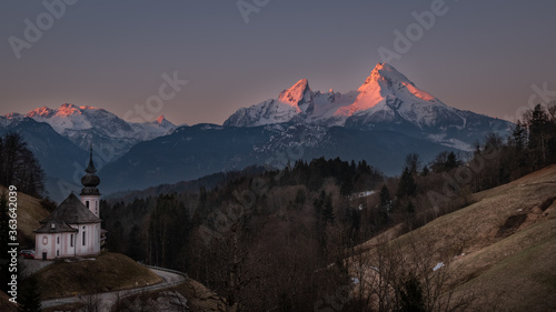 Canvas Print Scenic View Of Snowcapped Mountains Against Sky During Sunset