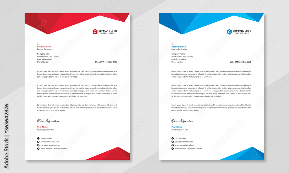 Fototapeta Professional business letterhead design in red & blue for corporate office. Vector design illustration. Simple & creative modern corporate letterhead template in a4 size.