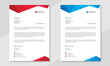 Professional business letterhead design in red & blue for corporate office. Vector design illustration. Simple & creative modern corporate letterhead template in a4 size.