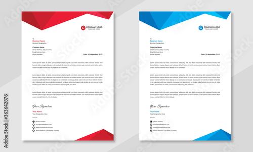 Fototapeta Professional business letterhead design in red & blue for corporate office. Vector design illustration. Simple & creative modern corporate letterhead template in a4 size. obraz