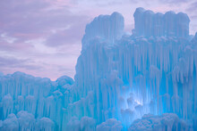 Panoramic View Of Ice Castles Against Cloudy Sky