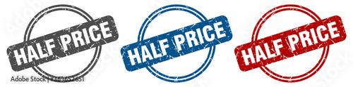 Tela half price stamp. half price sign. half price label set