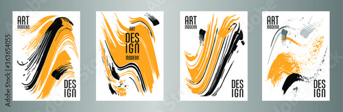 Сovers with brush strokes for books, magazines, catalogs. Vector illustration.