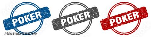 Valokuvatapetti poker stamp. poker sign. poker label set