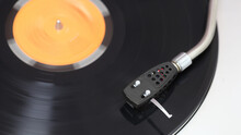 Vintage Turntable With Spinning Record