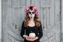 Young Woman With Skeleton Make...