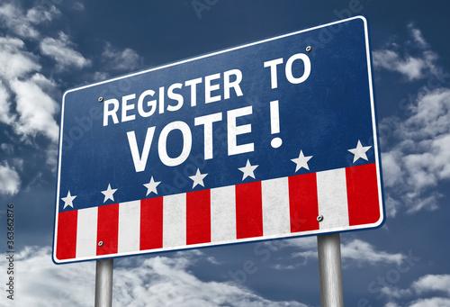 Obraz na plátně Register to Vote - roadsign information