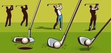 Golf Player Retro Style. Golf Clubs Vintage Vector Illustration.
