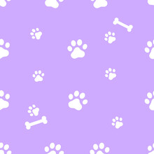 Cute Dog Paw Prints Seamless P...