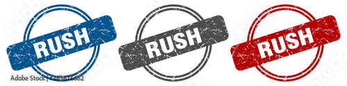 Photo rush stamp. rush sign. rush label set