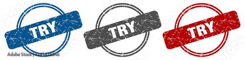 Obraz try stamp. try sign. try label set - fototapety do salonu