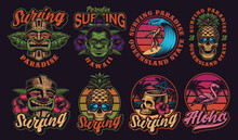 Set Of Colorful Hawaii Surfing Illustrations. These Vectors Are Perfect For Logos, Shirt Prints, And Many Other Uses As Well.