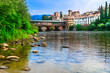 canvas print picture Beautiful medieval towns of Italy -picturesque  Bassano del Grappa with famous bridge,  Vicenza province,  region of Veneto