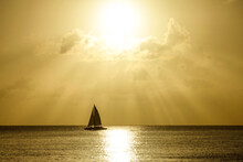 SILHOUETTE: Lonely Sailboat Sa...