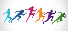 Silhouettes Of Athletics Peopl...