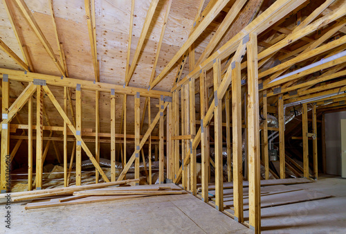 Cuadros en Lienzo House attic under construction interior inside a frame walls beam built home und