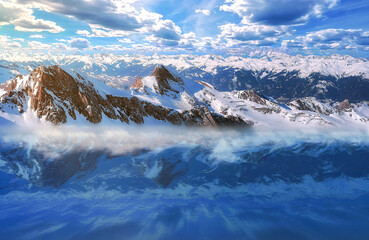 Panel Szklany Popularne Sunny Winter Alps Under Dramatic Sky Reflecting In Mountain Lake In Austria