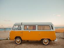 Vintage Van At Beach Against Sky During Sunset