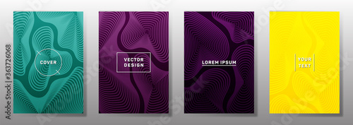 Curve topography lines imitation creative vector covers set. Canvas Print