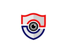 Red And Blue Shield With Eye C...