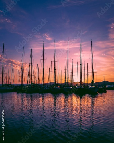 Sailboats In Marina At Sunset Fototapeta