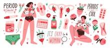 Set Of Menstruation, Period, F...