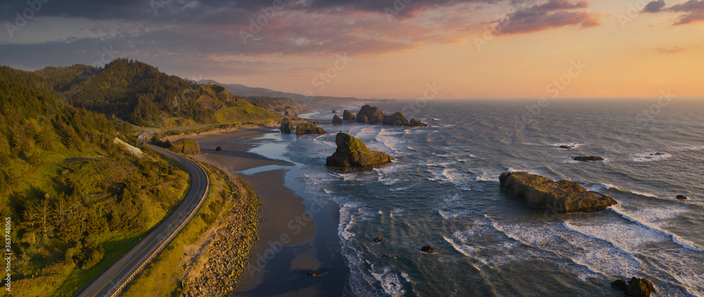 Fototapeta Pacific Highway 101 along the Southern Oregon Coast, aerial drone image.