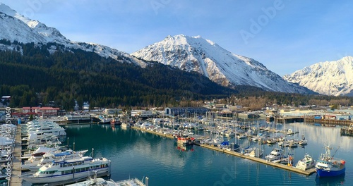 Sailboats Moored At Harbor Against Sky During Winter Fototapet