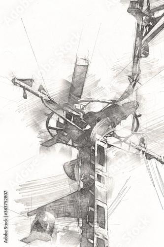 Military radar air surveillance on navy ship, art illustration drawing vintage Wallpaper Mural
