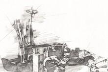 Sailing Boats Stowed At Marina Art Illustration Vintage Retro
