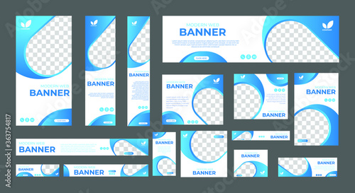 Fototapeta set of modern web banners of standard size with a place for photos. Vertical, horizontal and square template. vector illustration obraz