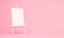3d Rendering Of Easel On Pink ...