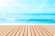 Blur Tropical Beach With Bokeh...
