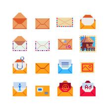 Envelopes, Message And Mailbox Pixel Art Icon Set, Isolated Vector Illustration. Element Design For Sticker, Logo, Web, Mobile App. 8-bit.