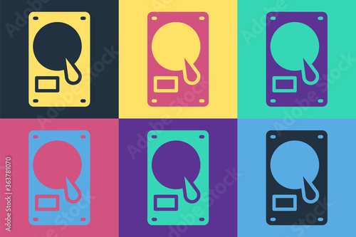 Pop art Hard disk drive HDD icon isolated on color background Wallpaper Mural