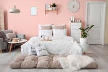 Stylish Interior Of Modern Bed...