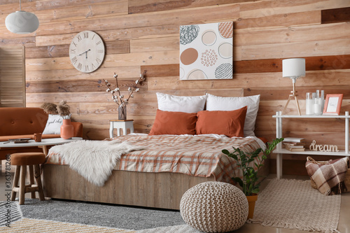 Fototapeta Stylish interior of modern bedroom obraz