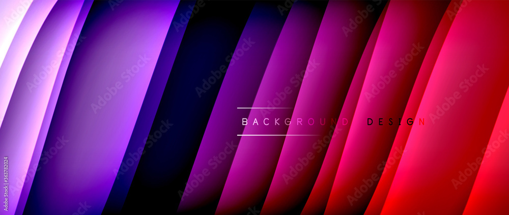 Fototapeta Fluid gradient waves with shadow lines and glowing light effect, modern flowing motion abstract background for cover, placards, poster, banner or flyer