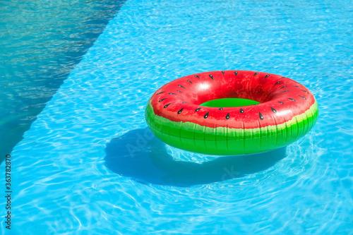 Fototapeta Inflatable ring in swimming pool obraz
