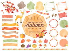 秋、水彩、イラスト、...