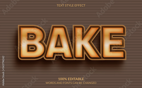 Foto Editable Text Effect, Bake Text Style