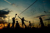 Silhouette People Playing Volleyball Against Sky During Sunset