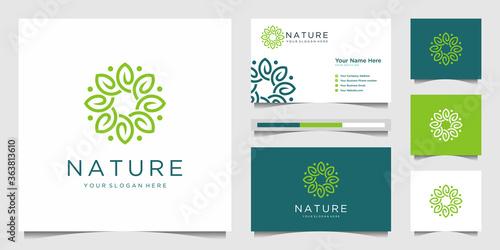 Cuadros en Lienzo Elegant flower logo design line art