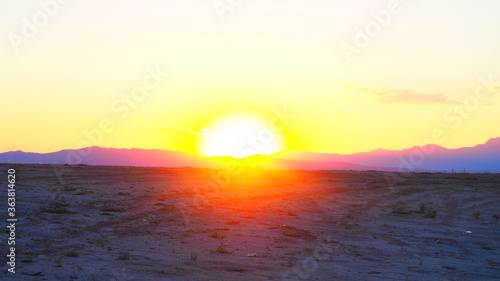 Fototapety, obrazy: Orange sunset in the mountains of northern Madrid