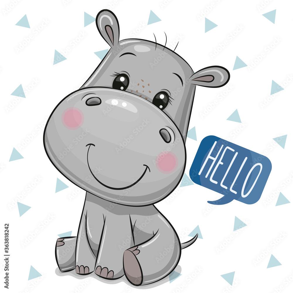 Fototapeta Cute Cartoon Hippo on a white Background
