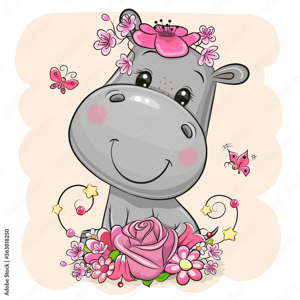 Fototapeta Cartoon Hippo with flowers on a beige background
