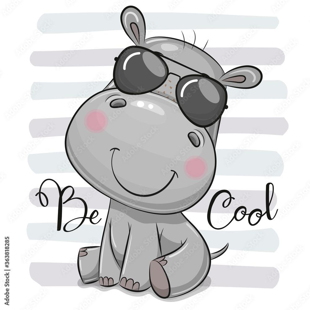 Fototapeta Cartoon Cute Hippo with sun glasses
