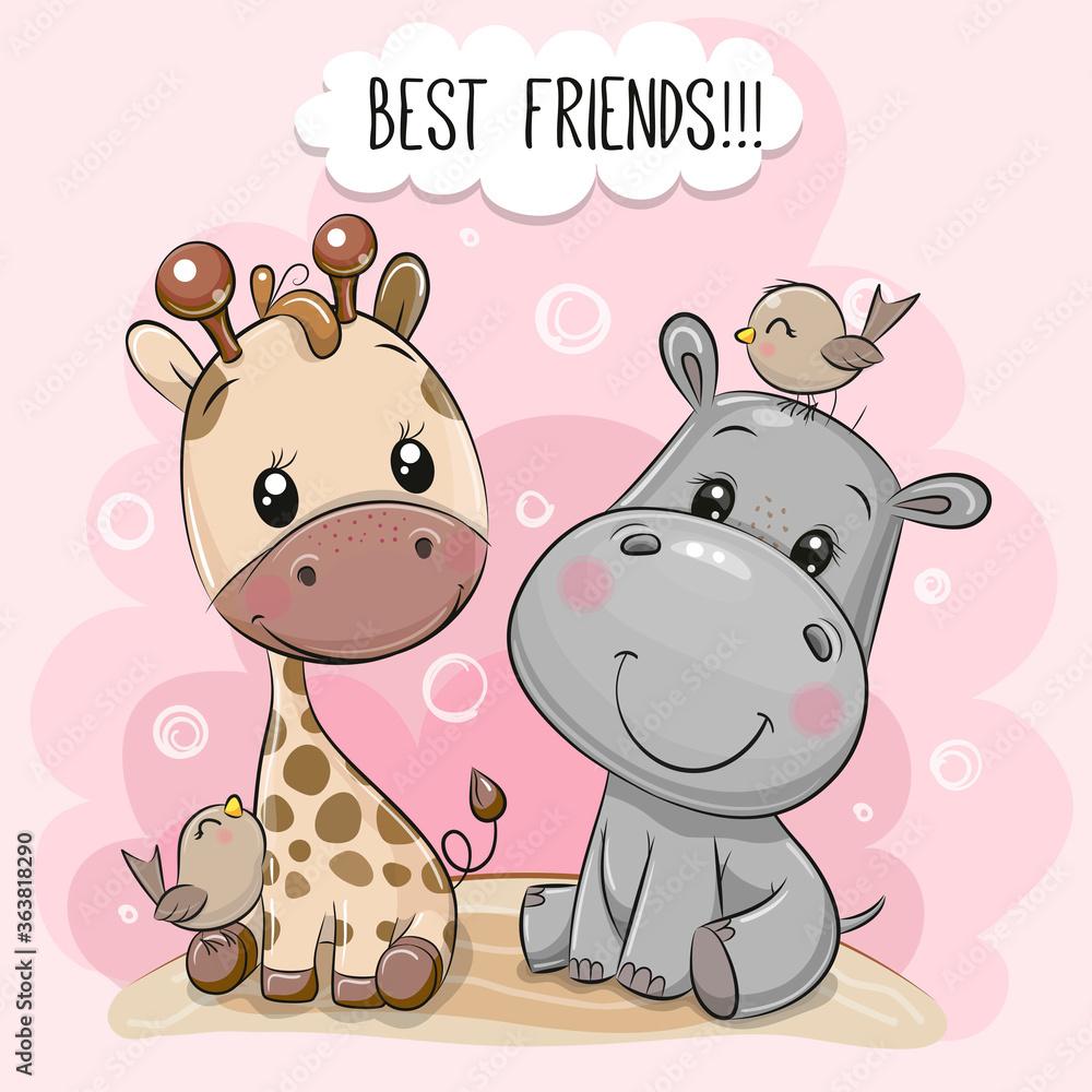 Fototapeta Cartoon Hippo and Giraffe on a pink background