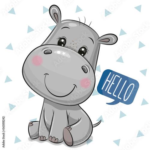 Fototapeta Cute Cartoon Hippo on a white Background obraz