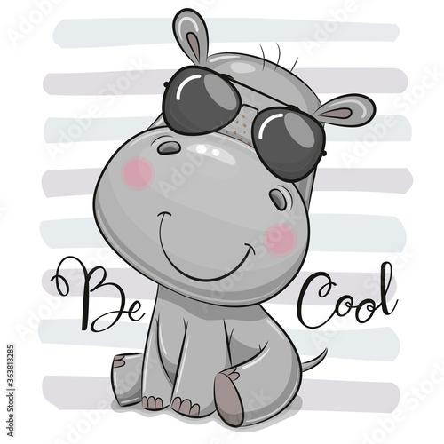 Fototapeta Cartoon Cute Hippo with sun glasses obraz